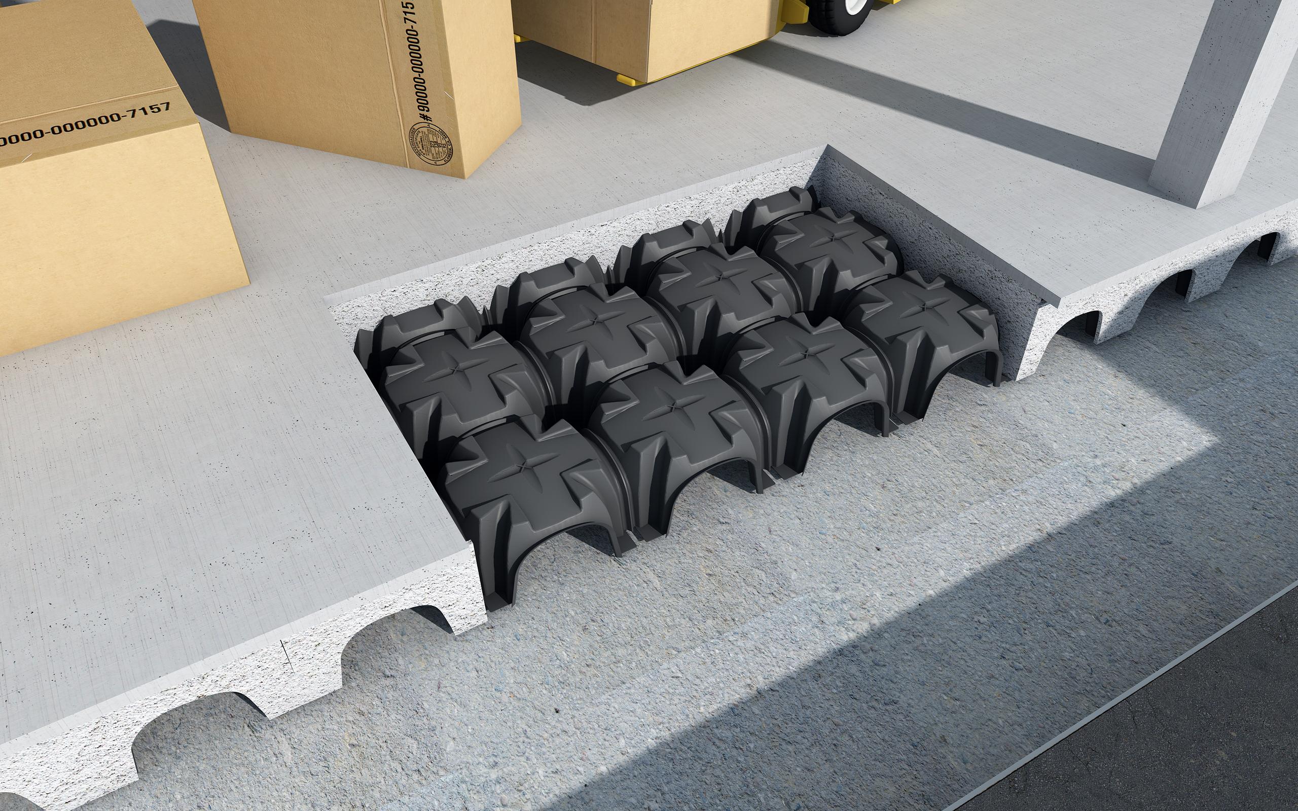 Cofraje pierdute pentru realizarea pardoselilor ventilate monolit - Randari GEOPLAST - Poza 9
