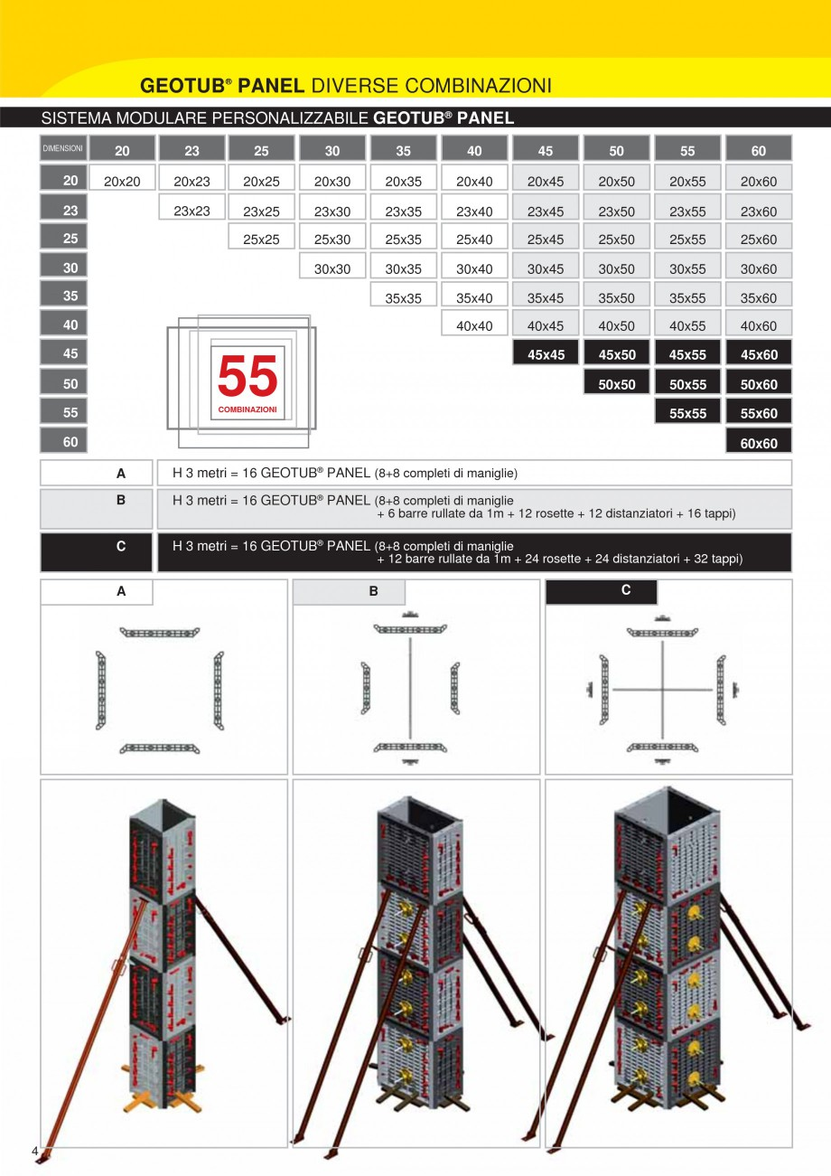 Pagina 4 - Cofraj modular refolosibil pentru coloane patrate sau dreptunghiulare GEOPLAST GEOTUB...