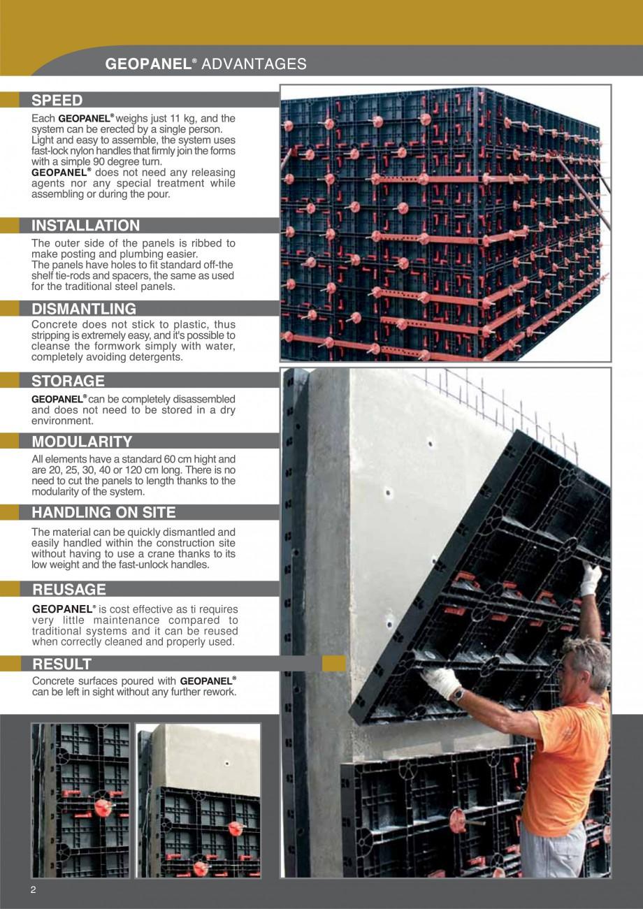Pagina 2 - Cofraje refolosibile din material plastic pentru zidari GEOPLAST GEOPANEL® Catalog,...