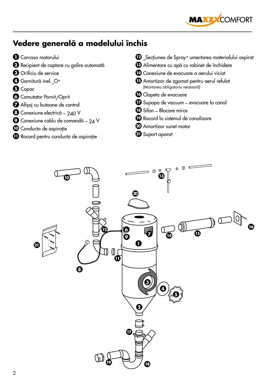 Pagina 2 - Aspirator central de praf rezidential DRAINVAC AUTOMATIK Instructiuni montaj, utilizare...