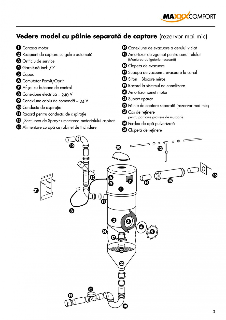 Pagina 3 - Aspirator central de praf rezidential DRAINVAC AUTOMATIK Instructiuni montaj, utilizare...