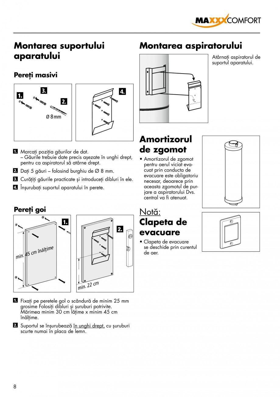 Pagina 8 - Aspirator central de praf rezidential DRAINVAC AUTOMATIK Instructiuni montaj, utilizare...