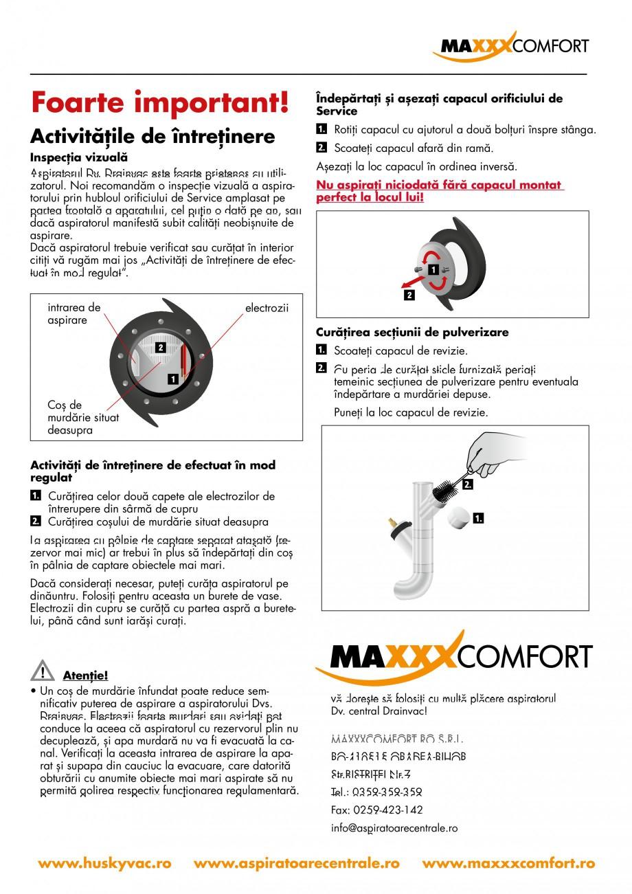 Pagina 16 - Aspirator central de praf rezidential DRAINVAC AUTOMATIK Instructiuni montaj, utilizare ...