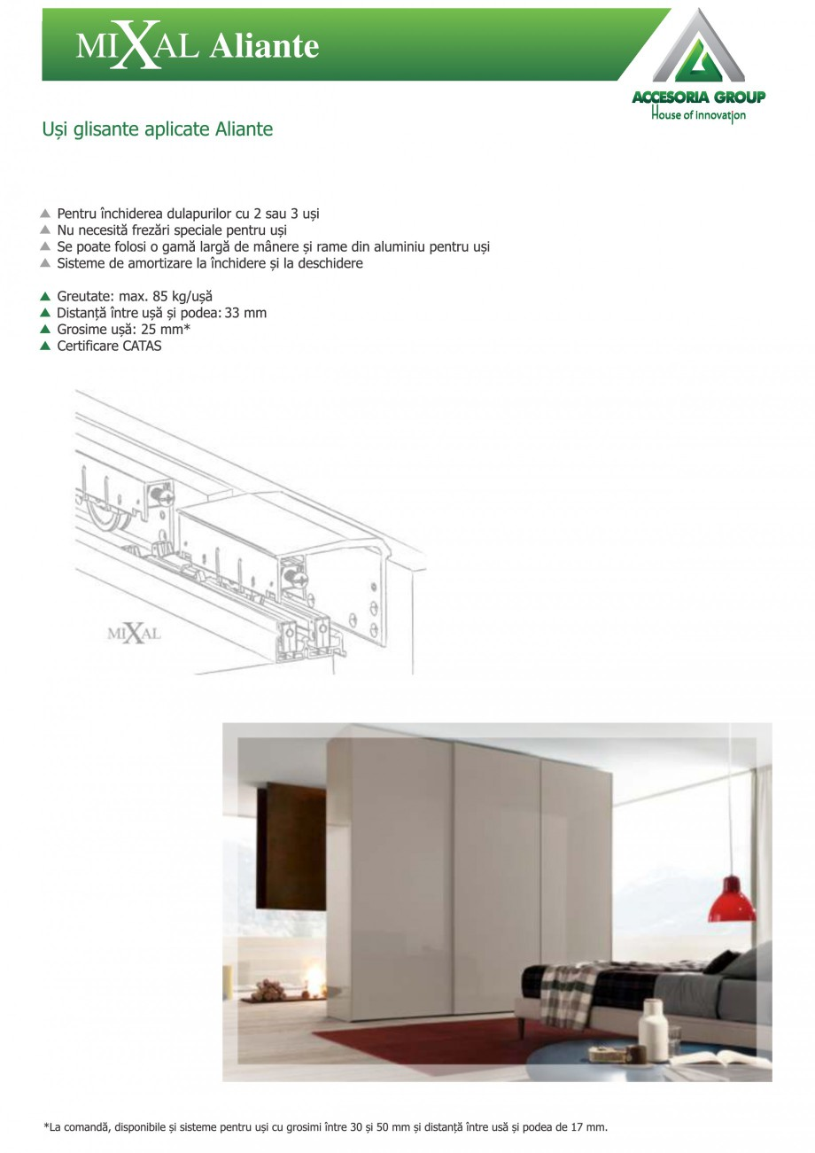 Pagina 1 - Usi glisante aplicate ACCESORIA GROUP Aliante Instructiuni montaj, utilizare Romana MI AL...