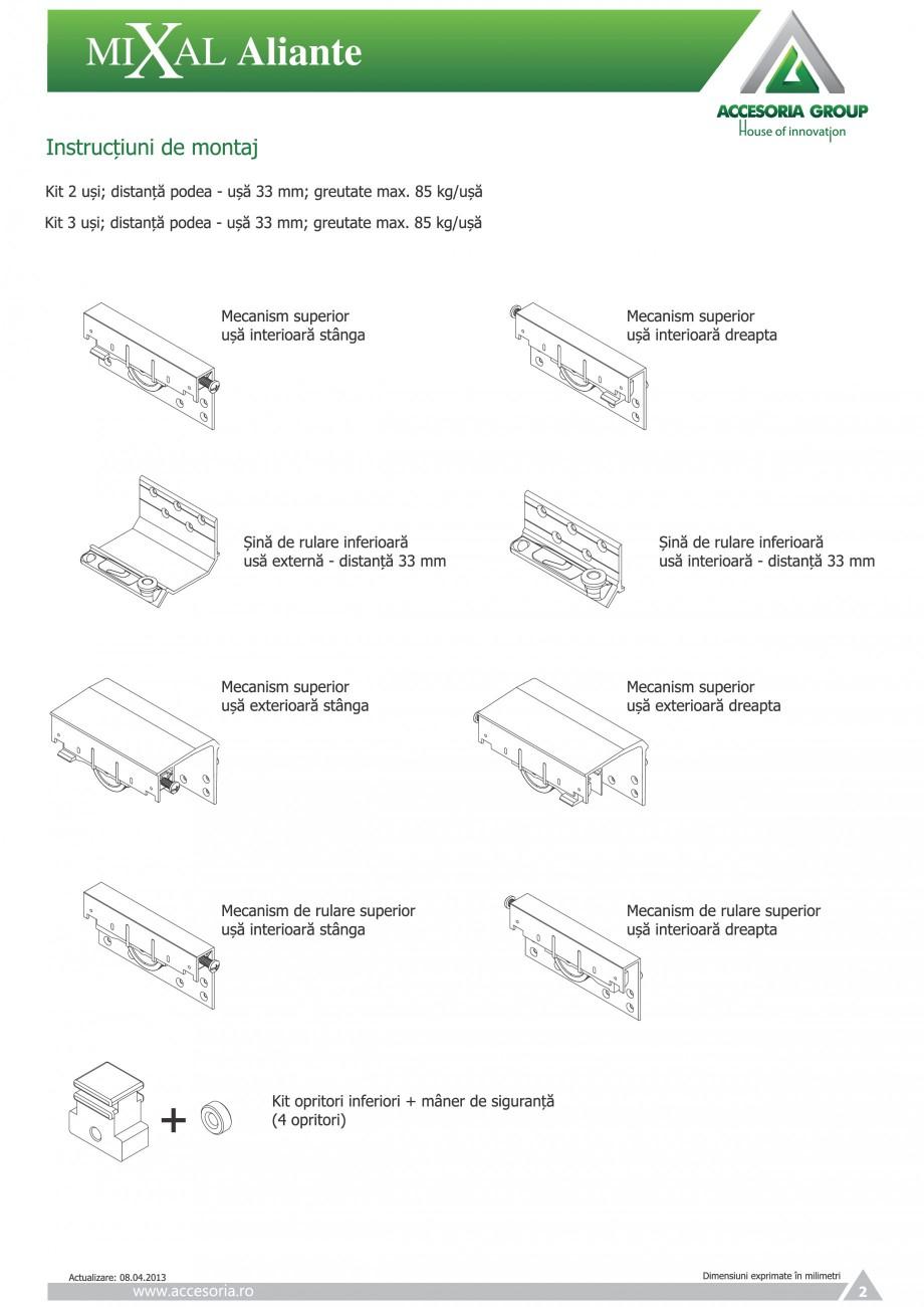Pagina 3 - Usi glisante aplicate ACCESORIA GROUP Aliante Instructiuni montaj, utilizare Romana