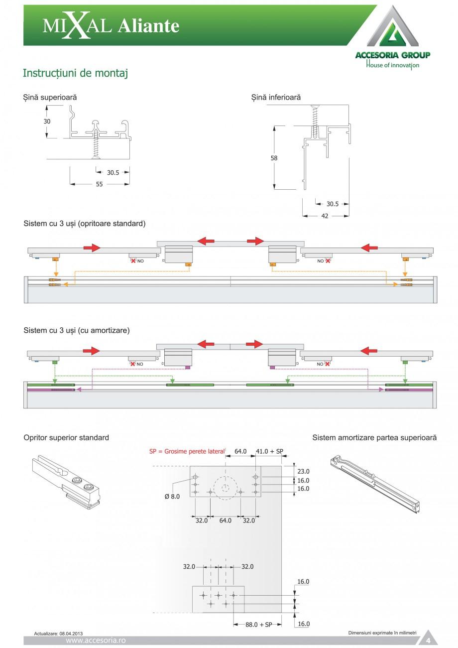 Pagina 5 - Usi glisante aplicate ACCESORIA GROUP Aliante Instructiuni montaj, utilizare Romana
