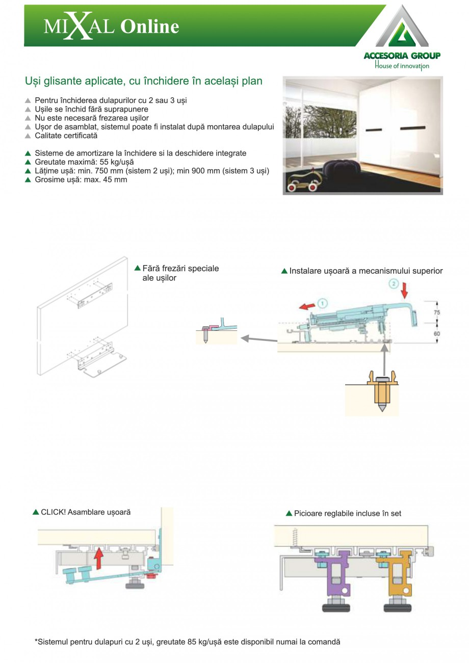 Pagina 1 - Usi glisante aplicate, cu inchidere in acelasi plan ACCESORIA GROUP Online Instructiuni...