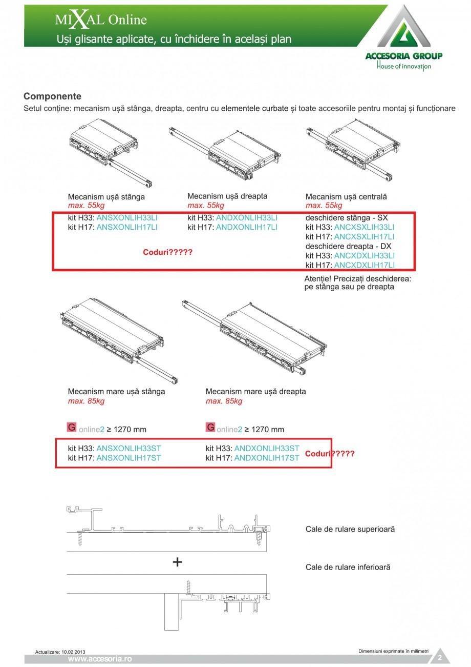 Pagina 3 - Usi glisante aplicate, cu inchidere in acelasi plan ACCESORIA GROUP Online Instructiuni...