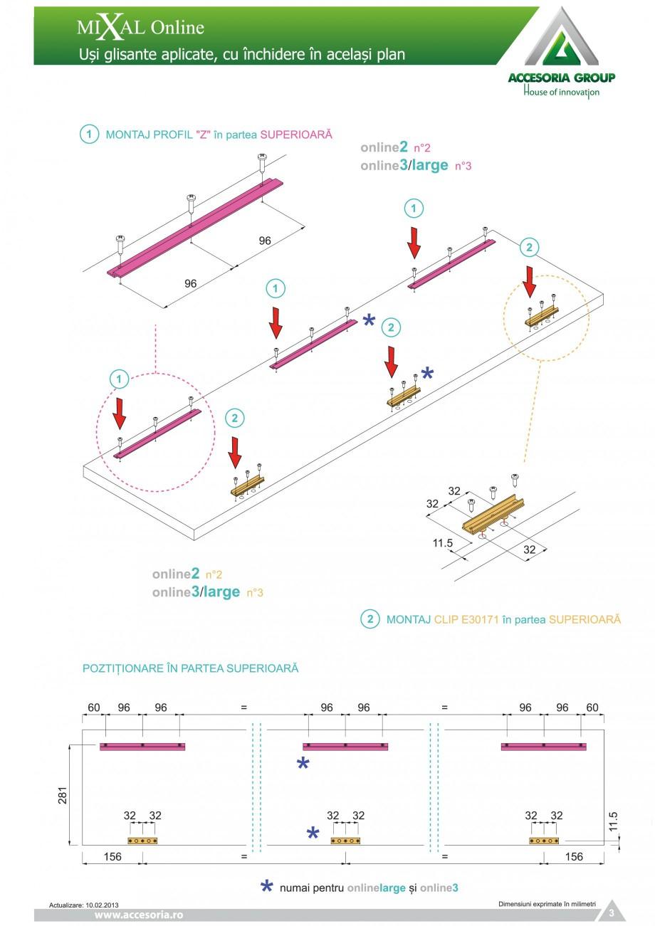 Pagina 4 - Usi glisante aplicate, cu inchidere in acelasi plan ACCESORIA GROUP Online Instructiuni...