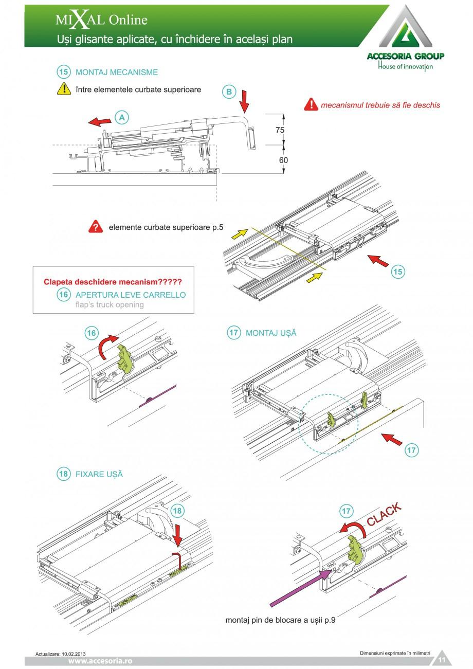 Pagina 12 - Usi glisante aplicate, cu inchidere in acelasi plan ACCESORIA GROUP Online Instructiuni ...