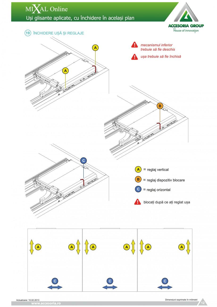 Pagina 13 - Usi glisante aplicate, cu inchidere in acelasi plan ACCESORIA GROUP Online Instructiuni ...
