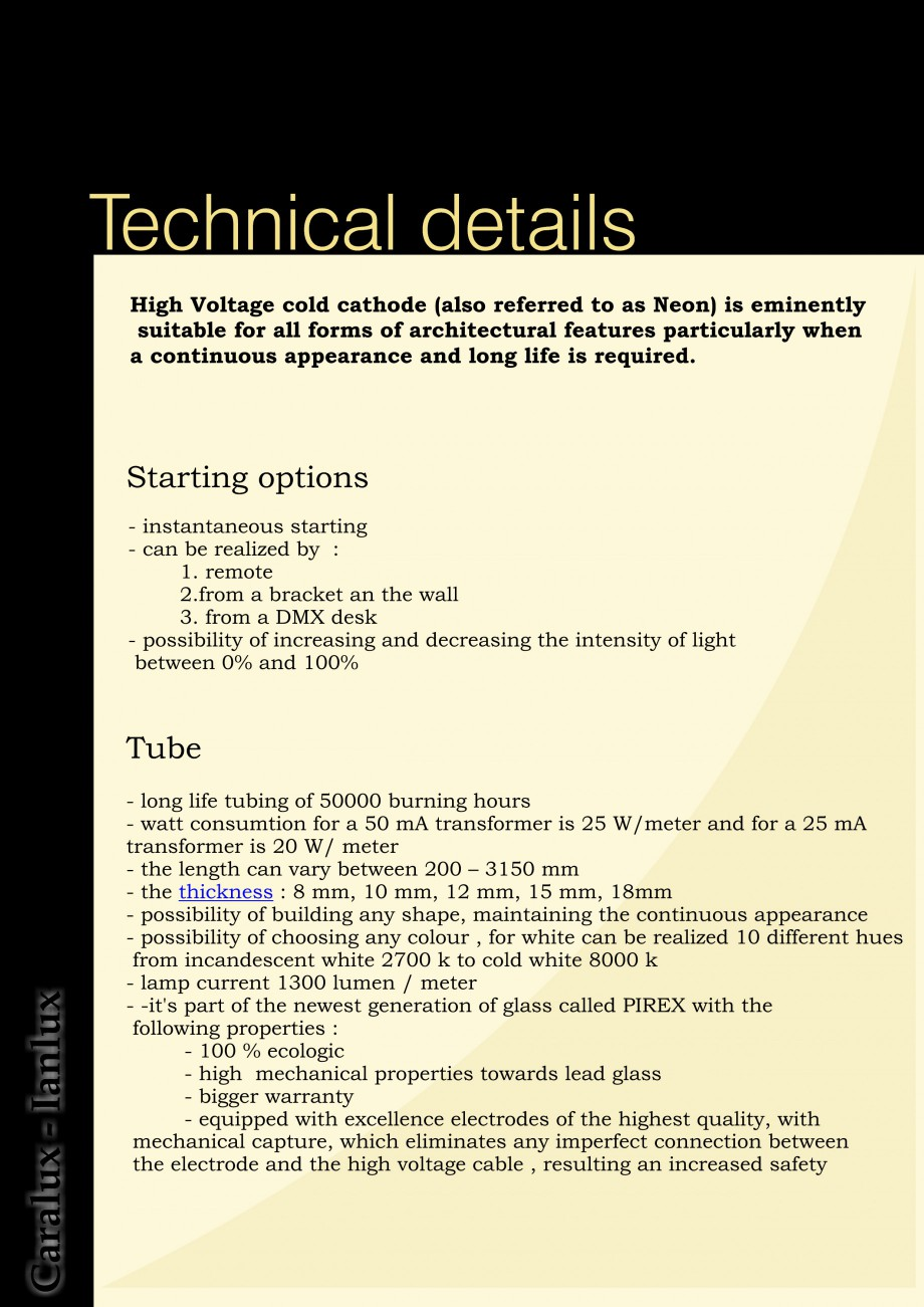 Pagina 3 - Iluminarea interioare - Neon Light   CARALUX Catalog, brosura Engleza W/ meter - the...