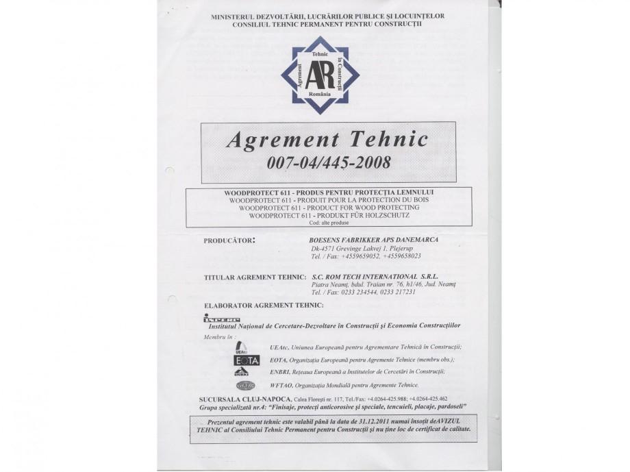Pagina 1 - Tratament pentru lemn - Agrement tehnic Nordcoll - AGREMENT WoodProtect 611 Certificare...