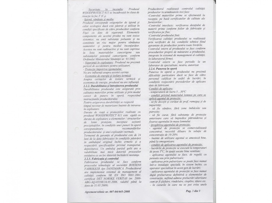 Pagina 3 - Tratament pentru lemn - Agrement tehnic Nordcoll - AGREMENT WoodProtect 611 Certificare...