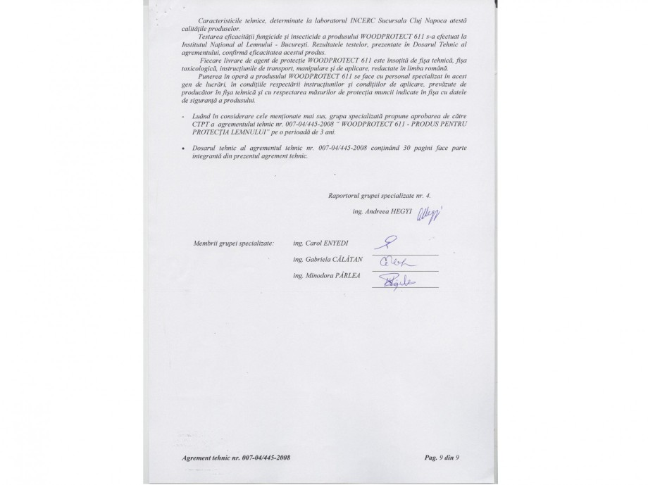 Pagina 9 - Tratament pentru lemn - Agrement tehnic Nordcoll - AGREMENT WoodProtect 611 Certificare...