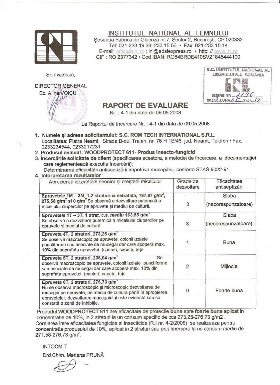 Pagina 1 - Tratament pentru lemn - Raport evaluare impotriva mucegaiului Nordcoll - AGREMENT...