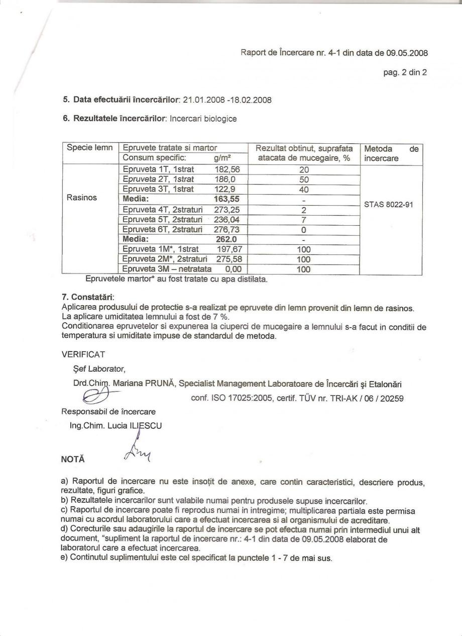 Pagina 2 - Tratament pentru lemn - Raport incercare impotriva mucegaiului Nordcoll - AGREMENT...