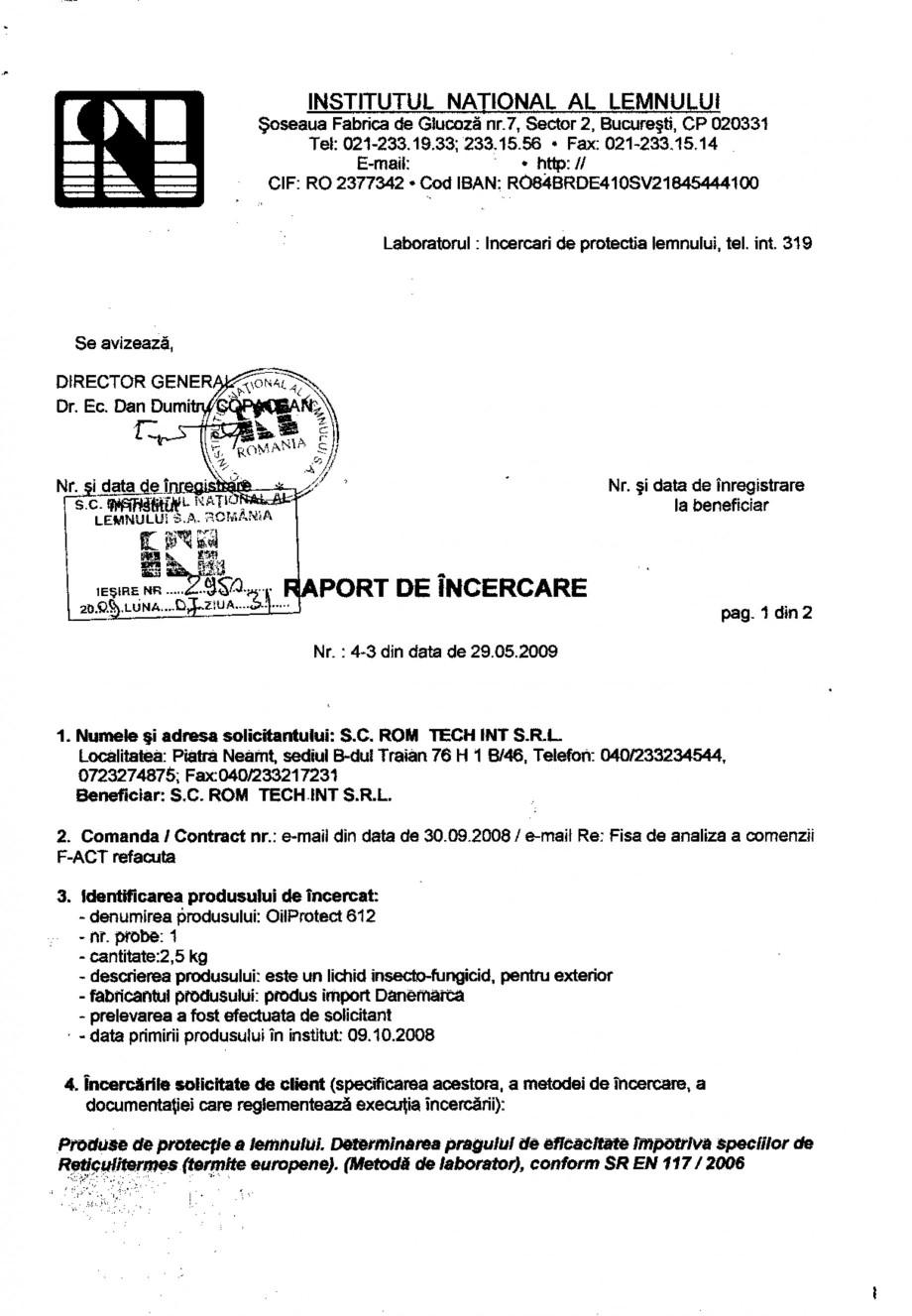 Pagina 1 - Tratament pentru lemn - Raport incercare anti-termite conform SR EN 117-2006 Nordcoll -...