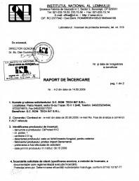 Tratament pentru lemn - Raport incercare hidrofuge conform STAS 10787-77