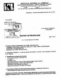 Tratament pentru lemn - Raport incercare impotriva Linnaeus conform SR EN 46-1-2005