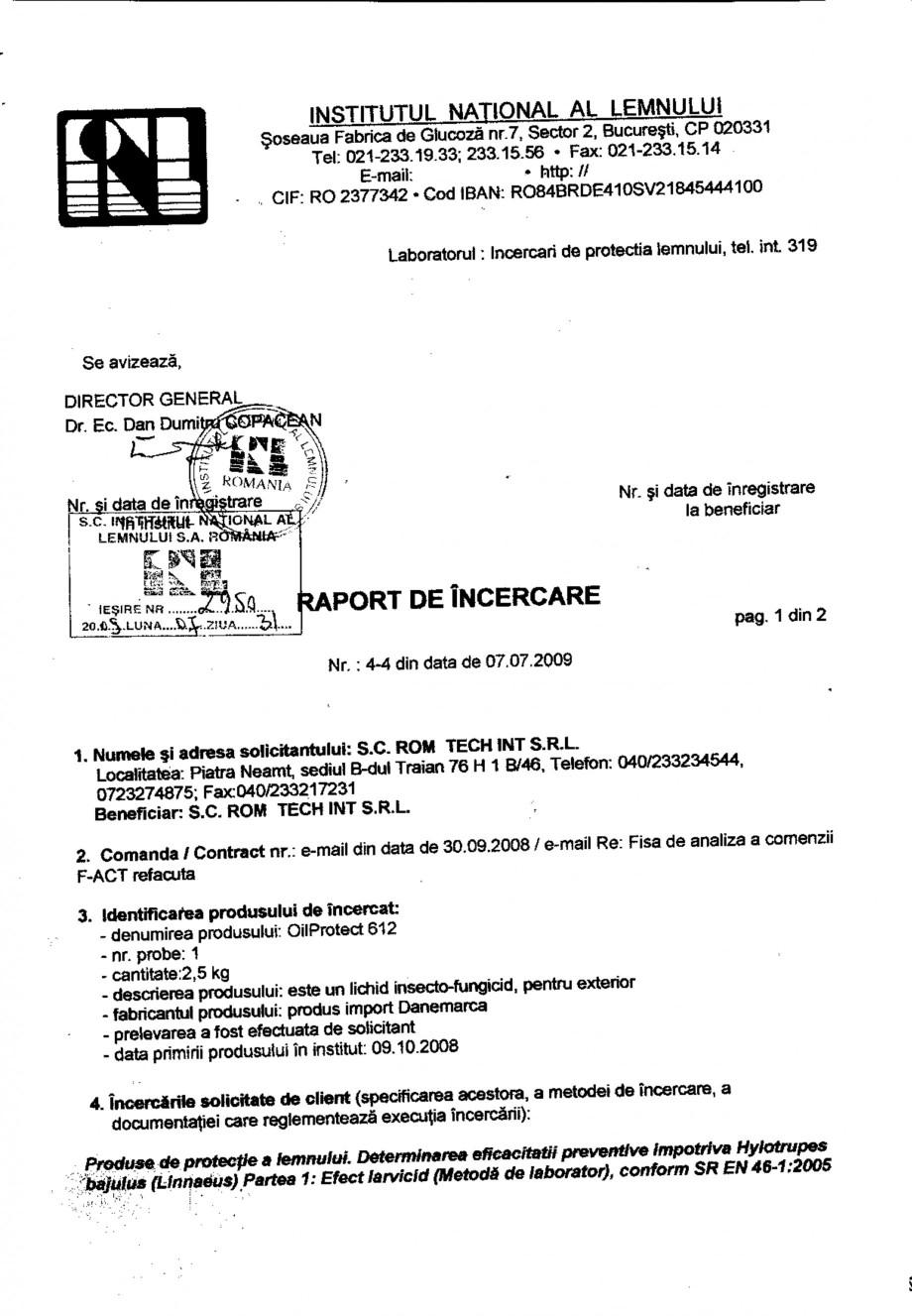 Pagina 1 - Tratament pentru lemn - Raport incercare impotriva Linnaeus conform SR EN 46-1-2005...