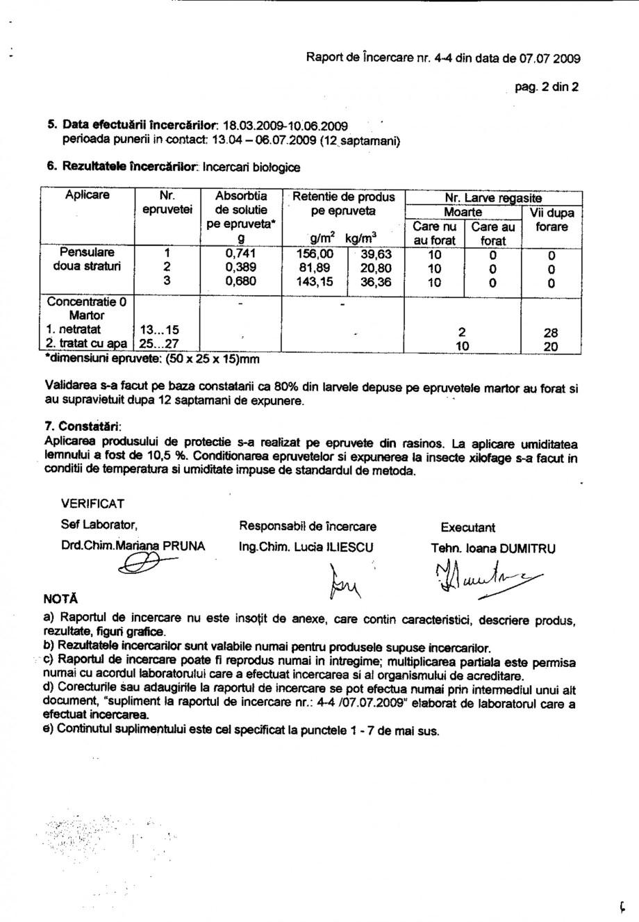 Pagina 2 - Tratament pentru lemn - Raport incercare impotriva Linnaeus conform SR EN 46-1-2005...