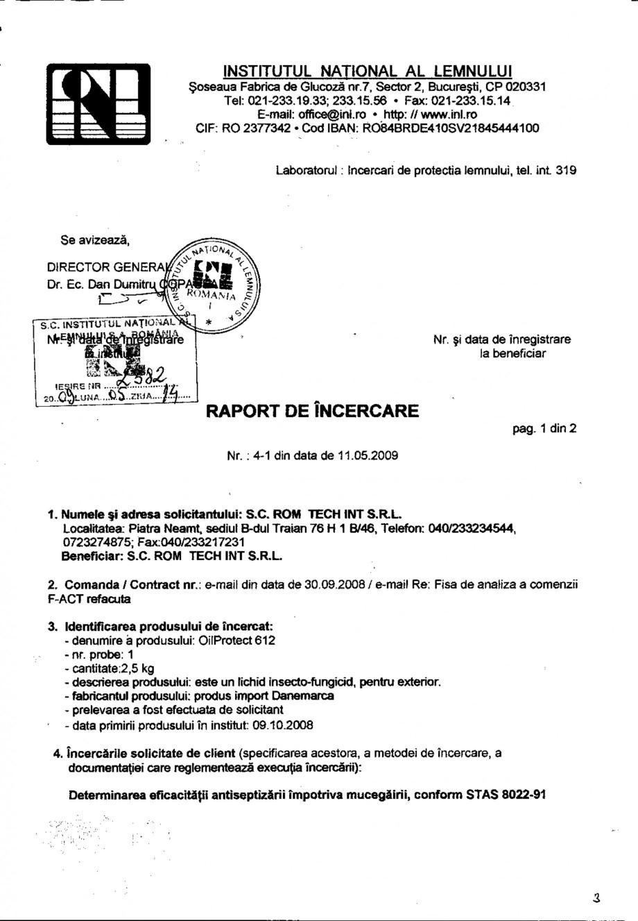 Pagina 1 - Tratament pentru lemn - Raport incercare impotriva mucegaii - STAS 8022-91 Nordcoll -...
