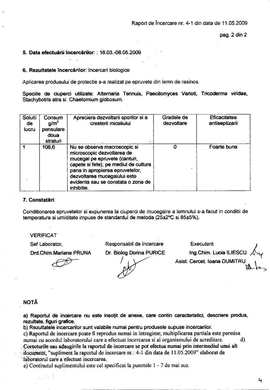 Pagina 2 - Tratament pentru lemn - Raport incercare impotriva mucegaii - STAS 8022-91 Nordcoll -...