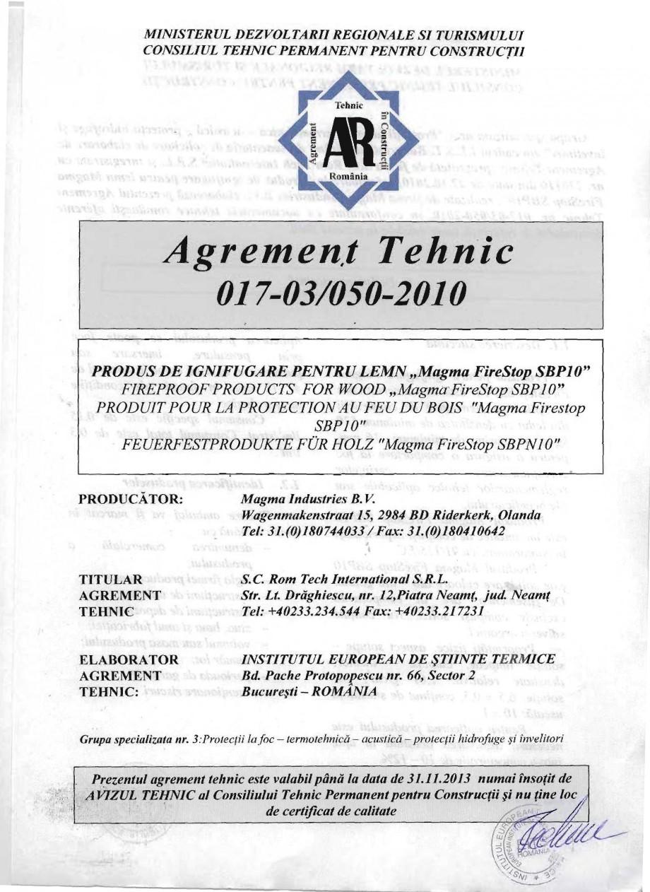 Pagina 1 - Produs pentru ignifugarea lemnului - Agrement tehnic Magma International MAGMA FIRESTOP...