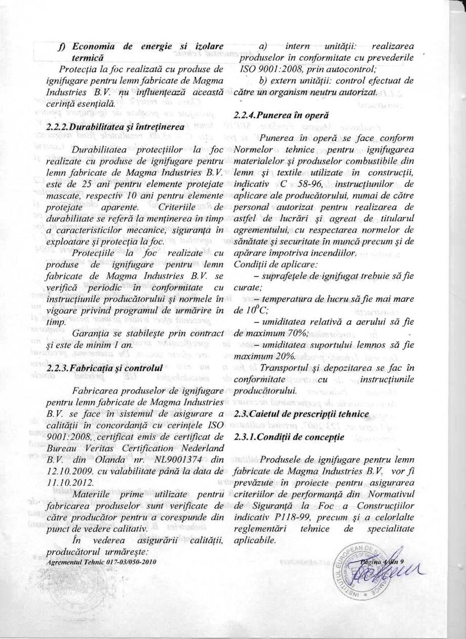 Pagina 4 - Produs pentru ignifugarea lemnului - Agrement tehnic Magma International MAGMA FIRESTOP...