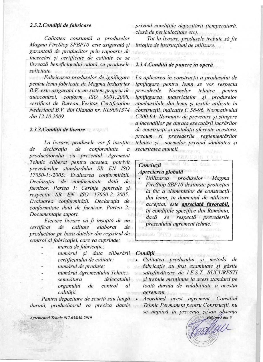 Pagina 5 - Produs pentru ignifugarea lemnului - Agrement tehnic Magma International MAGMA FIRESTOP...