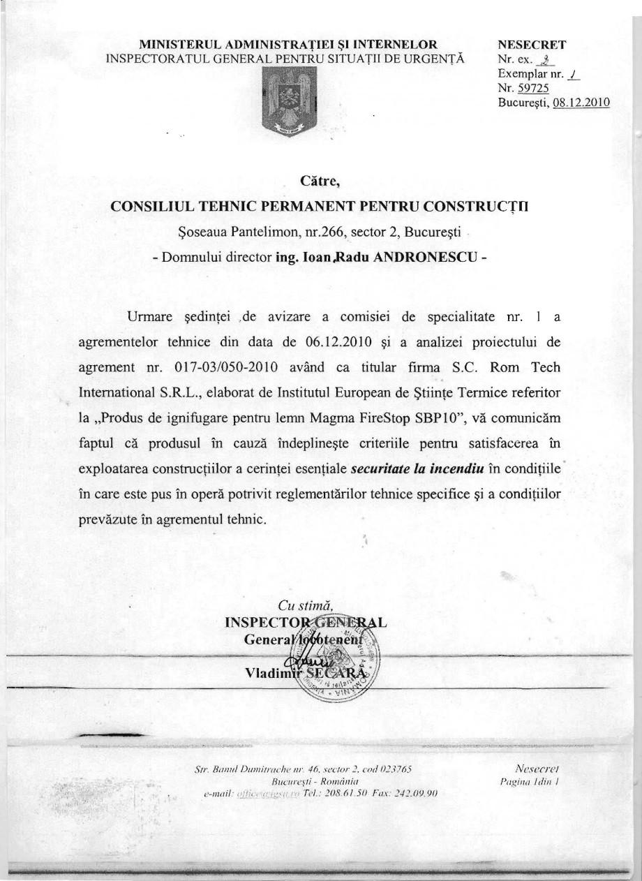 Pagina 10 - Produs pentru ignifugarea lemnului - Agrement tehnic Magma International MAGMA FIRESTOP ...