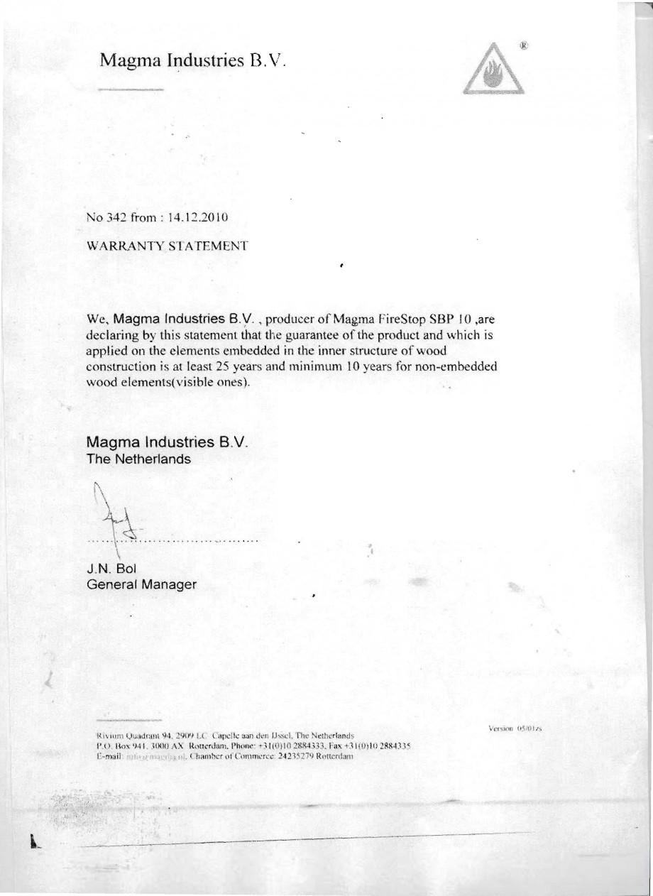 Pagina 11 - Produs pentru ignifugarea lemnului - Agrement tehnic Magma International MAGMA FIRESTOP ...