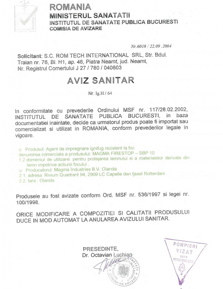 Pagina 1 - Produs pentru ignifugarea lemnului - Aviz sanitar nr. 6018 emis de Ministerul Sanatatii...