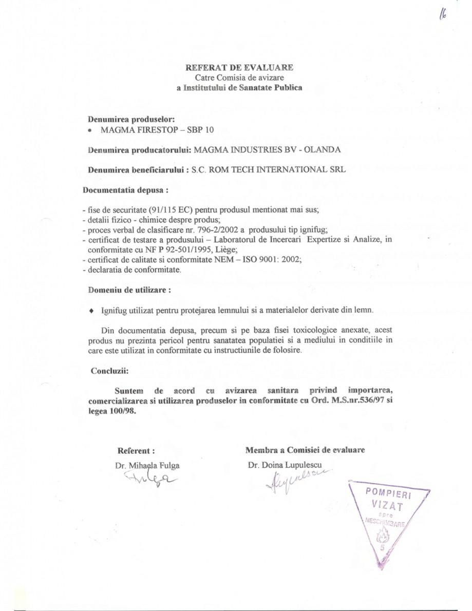 Pagina 2 - Produs pentru ignifugarea lemnului - Aviz sanitar nr. 6018 emis de Ministerul Sanatatii...