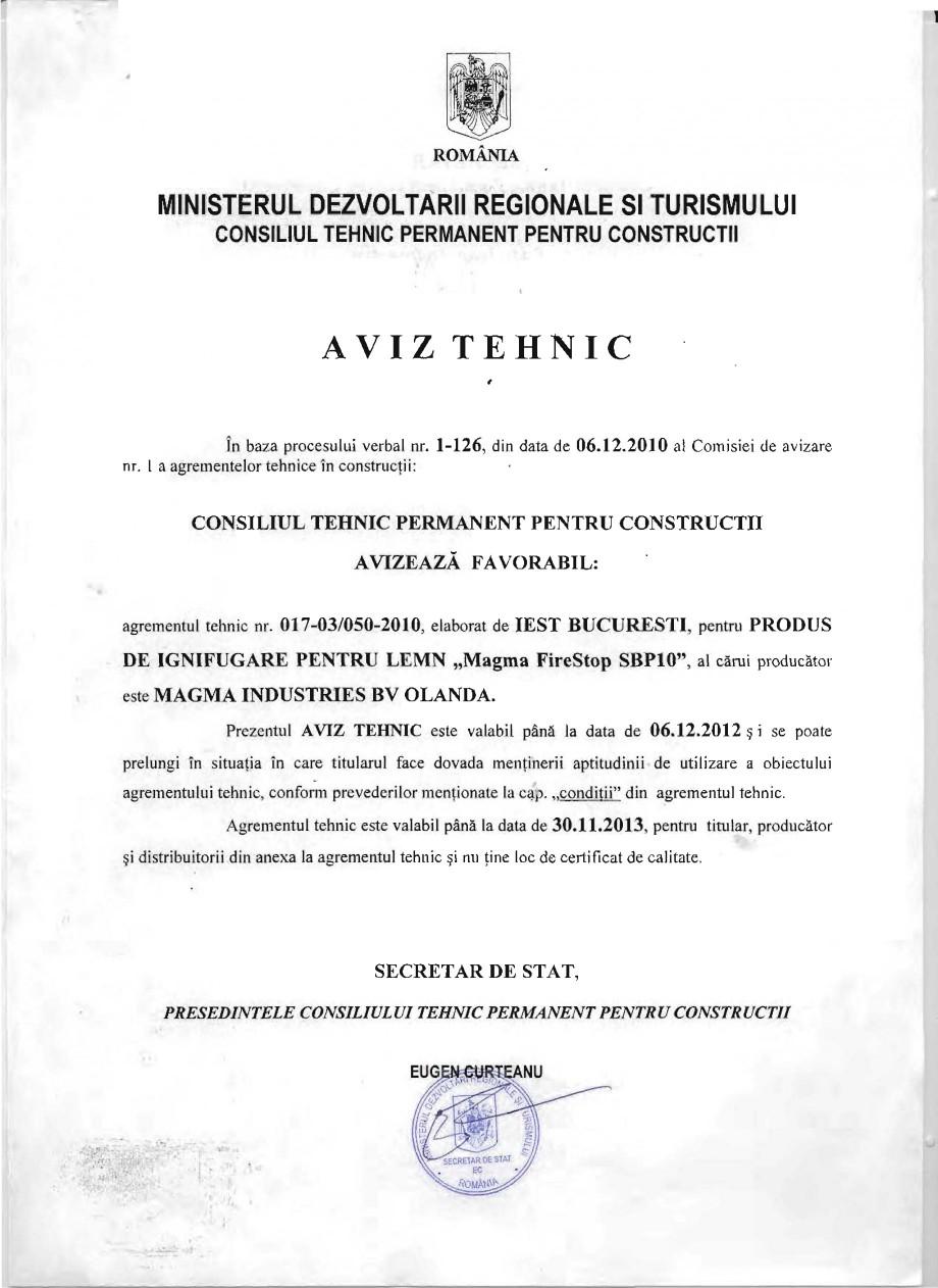 Pagina 1 - Produs pentru ignifugarea lemnului - Aviz tehnic Magma International MAGMA FIRESTOP SBP10...