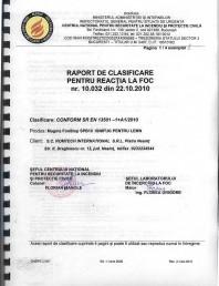 Produs pentru ignifugarea lemnului - Raport de clasificare pentru reactia la foc