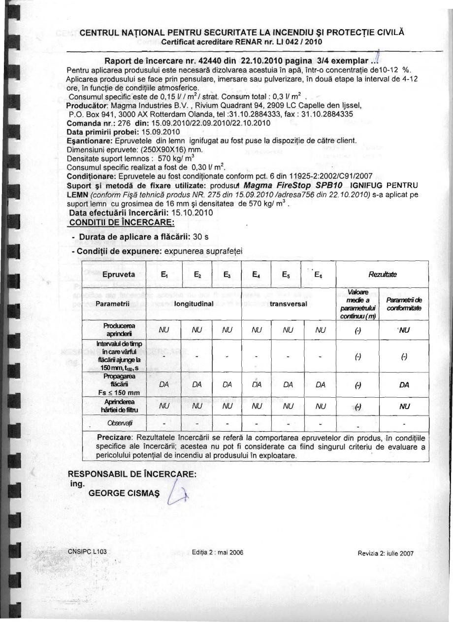 Pagina 3 - Produs pentru ignifugarea lemnului - Raport de incercare 42440 Magma International MAGMA ...
