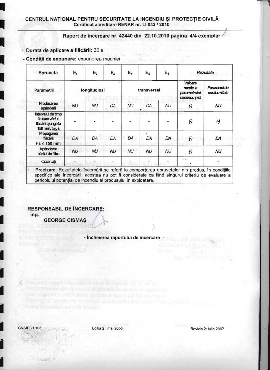 Pagina 4 - Produs pentru ignifugarea lemnului - Raport de incercare 42440 Magma International MAGMA ...