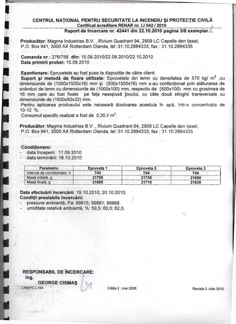 Pagina 3 - Produs pentru ignifugarea lemnului - Raport de incercare 42441 Magma International MAGMA ...