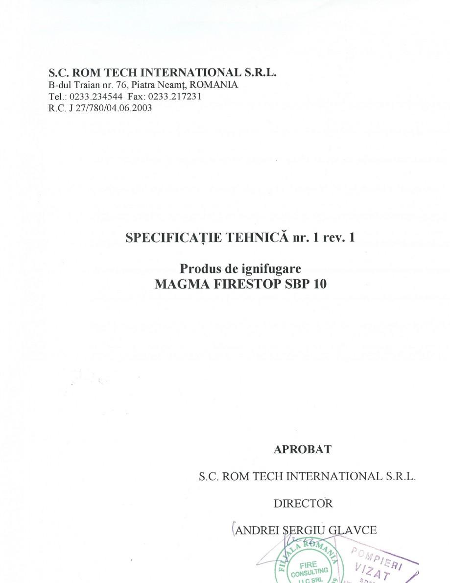 Pagina 1 - Produs pentru ignifugarea lemnului - Siguranta si utilizare Magma International MAGMA...