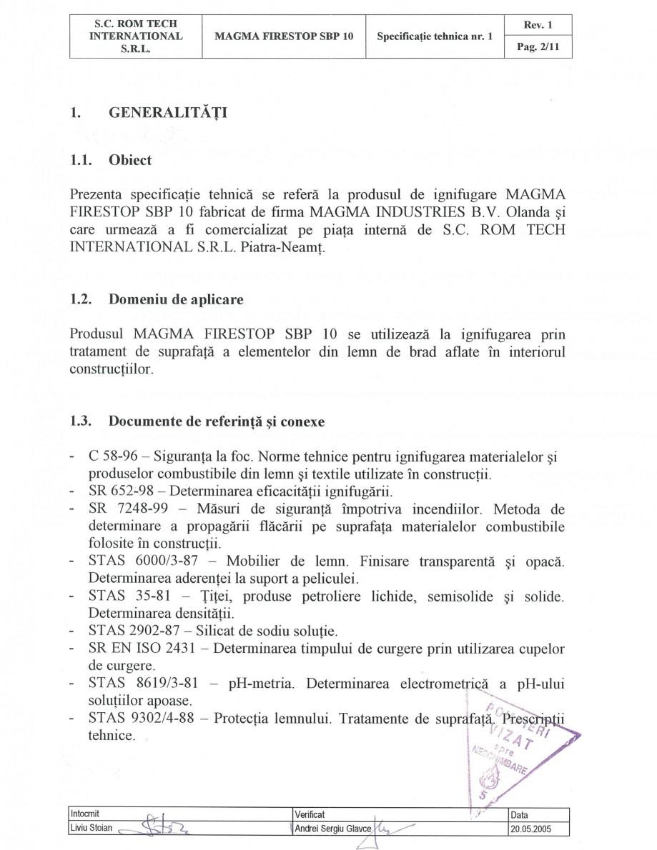 Pagina 2 - Produs pentru ignifugarea lemnului - Siguranta si utilizare Magma International MAGMA...