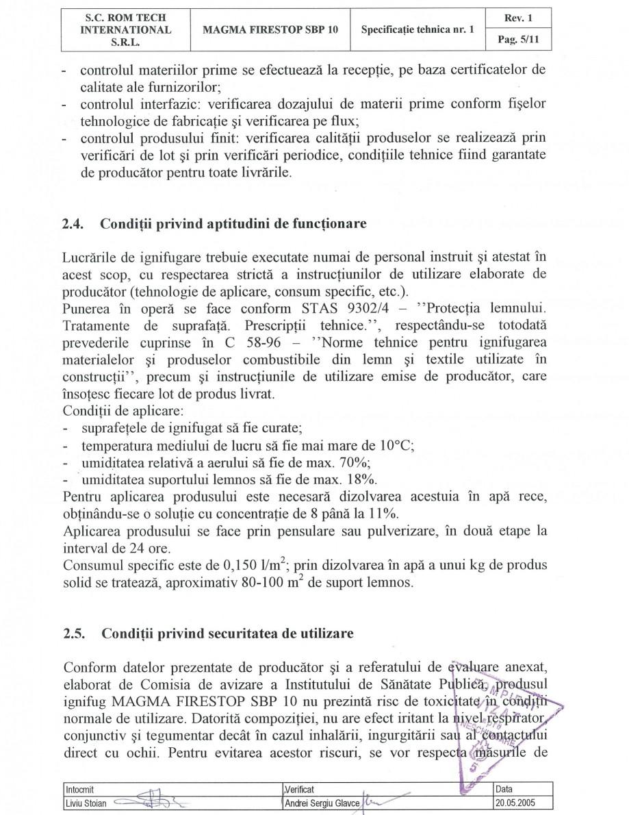 Pagina 5 - Produs pentru ignifugarea lemnului - Siguranta si utilizare Magma International MAGMA...