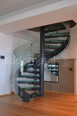 Scari spirala - Scara din sticla curba Penthouse SUDOMETAL - Poza 1