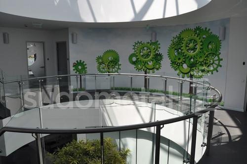 Balustrade din inox-sticla - Balustrade sediu companie SECOM SUDOMETAL - Poza 1