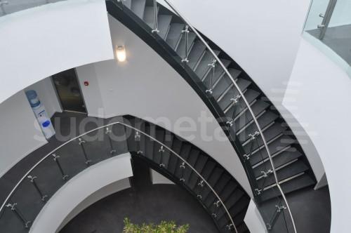 Balustrade din inox-sticla - Balustrade sediu companie SECOM SUDOMETAL - Poza 4
