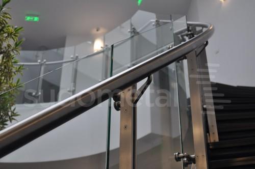 Balustrade din inox-sticla - Balustrade sediu companie SECOM SUDOMETAL - Poza 7