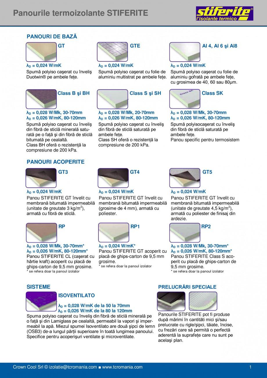 Pagina 1 - Aplicatii principale pentru panouri termoizolante din spuma rigida (PIR) Stiferite Class ...