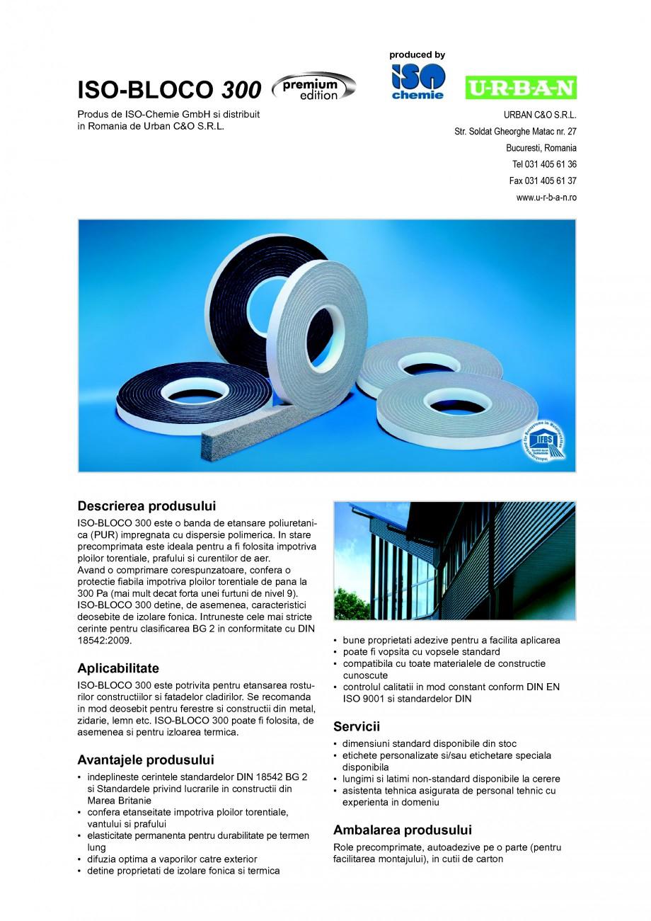 Pagina 1 - Banda de etansare poliuretanica (PUR) impregnata cu dispersie polimerica ISO Chemie...