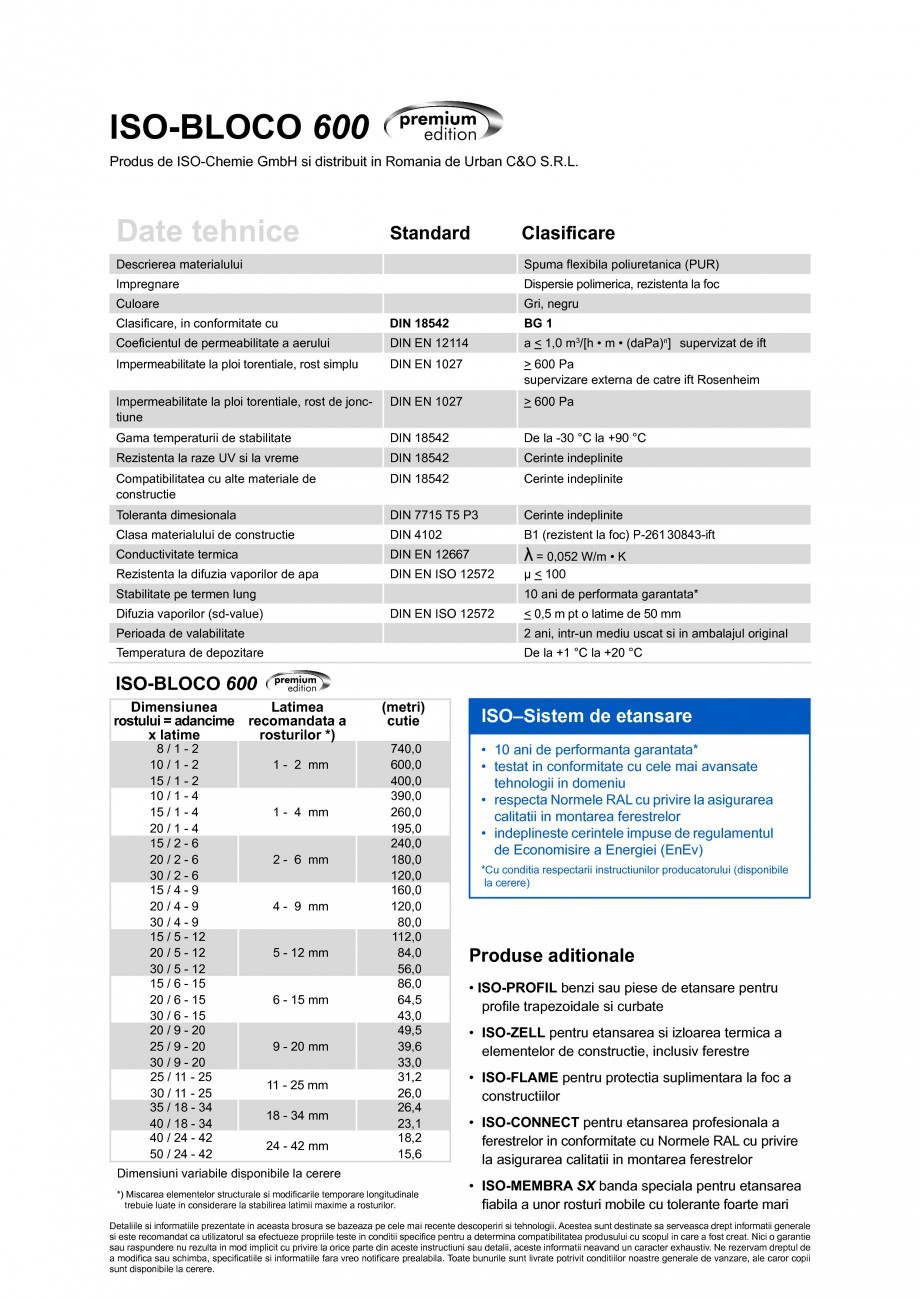 Pagina 2 - Banda de etansare impregnata cu spuma flexibila poliuretanica (PUR) cu dispersie...